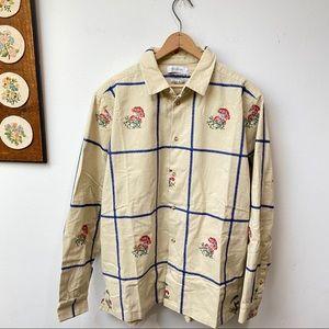 NWT Embroidered Plaid Button Down Shirt